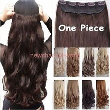 Women 3/4 Full Head Clip on In Hair Extension Real Thick as remy Straight Curly