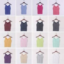 Summer Women Girls Slim Glittering Knitted Crop Tops Stretch Tank Vest Camisole