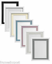 White WOODEN RIO Photo Frames with Black White Ivory Pink Blue or Grey Mounts