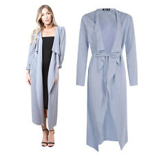 Pastel Blue Womens Maxi Midi Long Sleeved Belted Waterfall Duster Jacket Coat