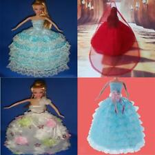 Charming Dolls Clothes Wedding Dress Party Gown with Veil for Barbie Dolls Toys