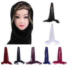 Maxi Chiffon Rhinestone and Beads Design Hijab Scarf Shawl Wrap