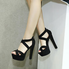 New Womens Platform Stiletto High Heels Ankle Strap Sandals Party Shoes 4.5-8