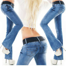 Womens Jeans New FLARE Cut Wide Leg Sexy Low Rise Hipster Blue Size 6 8 10 12 14