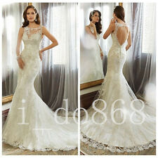 2017 Wedding Dress Sexy Backless Lace Bridal Gown Custom Size 4 6 8 10 12 14 ++
