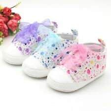 Baby Girls Lace Soft Sole Non Slip Crib Sneakers Shoes Toddler Kids Shoes 0-18M