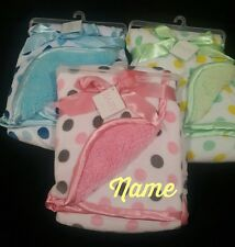 Personalized Polka Dot Minky & Sherpa Baby Blanket --Pink/Blue/Green**Baby Gift