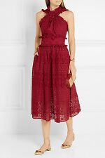 $2790 Oscar de la Renta RED Eyelet Lace broderie anglaise cotton MIDI DRESS 2