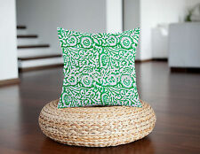 Indian Block Printed Cotton Pillow Throw Floral Cushion Cover Ethnic Decor Art