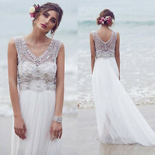 V Neck Long Chiffon Summer Beach Wedding Dress with Beads Custom Size 2 4 6 8 10