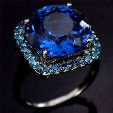 3.5ct Blue Sapphire Women 925 Silver Ring Wedding Gift Engagement Size 6-10