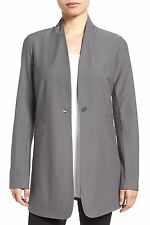 NWT Eileen Fisher Stand Collar Long Jacket Washable Stretch Crepe Brown $228 – M