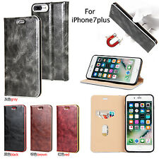 For Apple iPhone 5/6S/7 Plus Luxury ​Leather Retro Magnetic Flip Case Card Cover