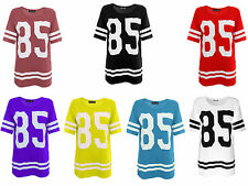 New Womens American Varsity Striped Oversize Baggy Style Ladies T-Shirt Top 8-14