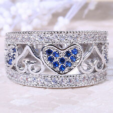 1.8ct Blue Sapphire Women 925 Silver Band Ring Wedding Gift Engagement Size 6-10