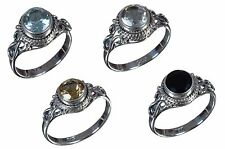 925 Solid Sterling Silver Ring Natural Multi Gemstones 5 to 9 US Size Available