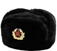 Russian Military Winter Fur Hat Ushanka with Badge Soviet Symbol (+Gift)