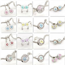 2pcs Silver flower European Charm Beads Fit Necklace Bracelet  Chain