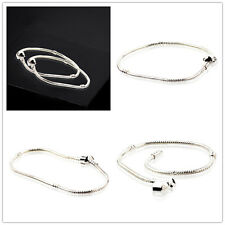 Wholesale 20X S925 Copper Snake Chain Silver Charm Bracelets Fit European Beads