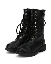 Happy Soda Oralee-2S New Girl Leatherette Lace Flannel Fold Cuff Military Boot