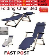 Reclining Deck Lounge Sun Beach Chair Outdoor Folding Camping Tanning Pool Blue