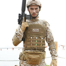 Plate Carrier Vest Tactical Molle Airsoft Chest Light Weight Durable War Game