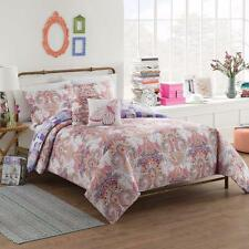 Purple Pink Orange Bohemian Floral Damask Reversible Teen Cotton Comforter Set