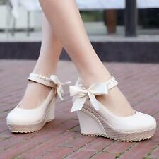 Womens Round Toe Wedge Heel Platform PU Leather Casual Bowknot Mary Jane Sandals
