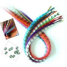 24strands Girls' Multicolour Grizzly Rooster Feather Hair Extensions + Beads