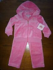 JUICY COUTURE~Girls Toddler~2 PC SET~Pink Velour~Hooded Jacket~Size 18-24M