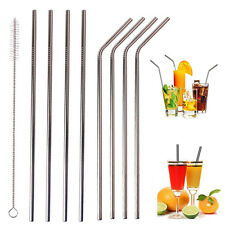 4 Straw+1 Brush Stainless Steel Reusable Cocktail Drinking Straws Cleaner Brush