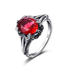 Red Ruby 925  Sterling Silver Rings  Victorian Design Filigree Ring size 5-10