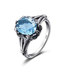 Aquamarine 925 Sterling Silver Rings Victorian Design Filigree Ring size Any