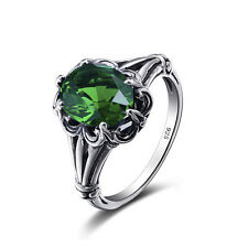 Emerald 925 Sterling Silver Rings  Victorian Design Filigree Ring size 5 6 7 8 9