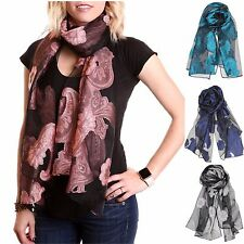 Women Sheer Burnout Velvet Scarf Summer Evening Wrap Shawl w Embroidered Paisley