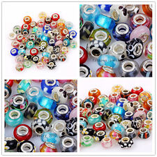 Wholesale Lots Assorted Murano Glass Silver Beads Fit European Bracelet Choose~