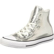 Converse Chuck Taylor All Star Metallic Scaled Hi Silver Leather Trainers Shoes