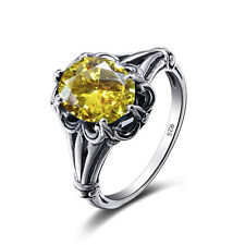 925 Sterling Silver Rings Victorian Design Filigree Yellow Topaz  Ring size 4-11