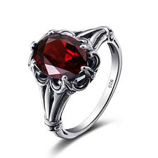 925 Sterling Silver Rings Victorian Design Filigree Red Garnet  Ring size 4-11