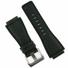 B & R Bands Black Carbon Fiber Style Bell & Ross BR01 BR03 Watch Band Strap