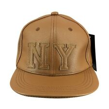 Men Women NY Leather Baseball Hat Brown Black Snapback Hip Hop Gorras Hat Cap
