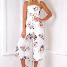 New Womens Ladies Floral Print Sexy Tube Top Cropped Pants Jumpsuit Playsuit SML