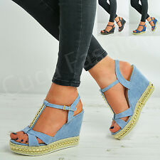 New Womens Studded Espadrille Wedges Ladies Platforms Sandals Shoes Size Uk 3-8