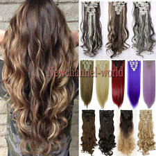100% Natural Clip in on Hair Extensions 8 Pieces Full Head Long New ombre colors