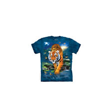 3D Tiger Adult T-Shirt Mountain Cat Stalking Wild Dark Blue Forest Nature