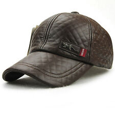 Men Women Black Brown Red Leather Baseball Hat Snapback Casquette Gorras Hat Cap