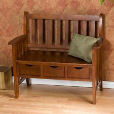 3-Drawer Oak Country Bench