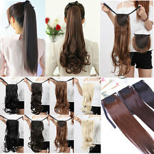 Real Natural Tie Up PonyTail Clip-On Hair Piece Extensions Extension human style