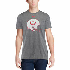 Under Armour Wisconsin Badgers Gray Throwback Helmet Tri-Blend T-Shirt