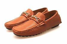 Mens Tan Brown Faux Leather Designer Slip On Moccasins Shoes Size 6 7 8 9 10 11
